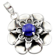 3.26cts natural blue lapis lazuli 925 sterling silver flower pendant r17424