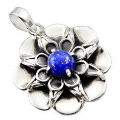 3.13cts natural blue lapis lazuli 925 sterling silver flower pendant r17425