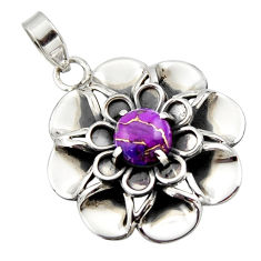 3.00cts purple copper turquoise 925 sterling silver flower pendant r17432
