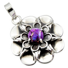 925 sterling silver 3.12cts purple copper turquoise round flower pendant r17433