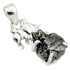15.44cts natural campo del cielo (meteorite) 925 silver elephant pendant r17584