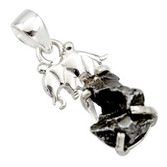 925 silver 12.07cts natural campo del cielo (meteorite) elephant pendant r17591