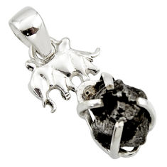 11.66cts natural campo del cielo (meteorite) 925 silver elephant pendant r17596