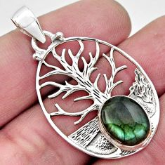 5.01cts natural blue labradorite 925 sterling silver tree of life pendant r17609