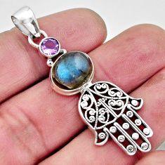 6.09cts natural blue labradorite 925 silver hand of god hamsa pendant r17610