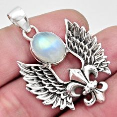 5.52cts natural rainbow moonstone 925 silver feather charm pendant r17612