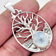 925 silver 5.18cts natural rainbow moonstone oval tree of life pendant r17615