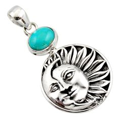 4.22cts natural kingman turquoise 925 silver crescent moon star pendant r17621