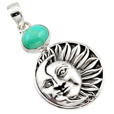 4.49cts natural kingman turquoise 925 silver crescent moon star pendant r17622