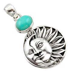 4.21cts natural kingman turquoise 925 silver crescent moon star pendant r17623