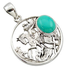 4.55cts natural green kingman turquoise 925 sterling silver horse pendant r17625
