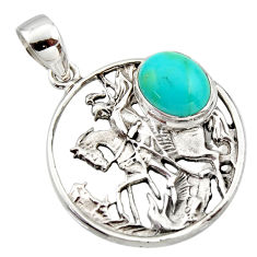 4.71cts natural green kingman turquoise 925 sterling silver horse pendant r17641