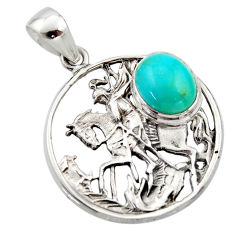 4.70cts natural green kingman turquoise 925 sterling silver horse pendant r17643