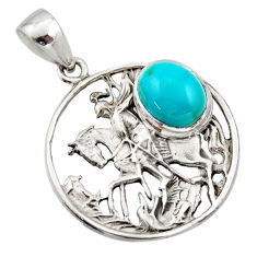 925 sterling silver 4.55cts natural green kingman turquoise horse pendant r17644