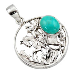 4.52cts natural green kingman turquoise 925 sterling silver horse pendant r17646