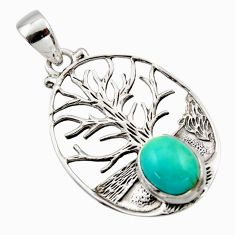 4.70cts natural green kingman turquoise 925 silver tree of life pendant r17648
