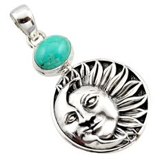 4.36cts natural kingman turquoise 925 silver crescent moon star pendant r17651