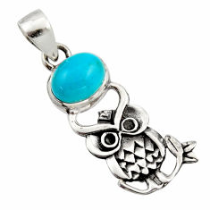 925 sterling silver 4.22cts natural green kingman turquoise owl pendant r17653