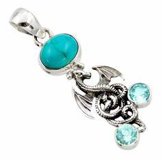 925 silver 6.03cts natural green kingman turquoise topaz dragon pendant r17656