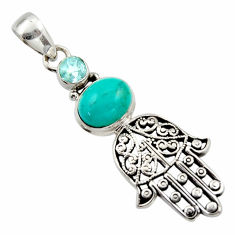 5.31cts natural kingman turquoise 925 silver hand of god hamsa pendant r17658