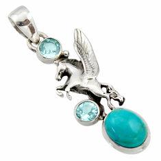 925 silver 5.87cts natural green kingman turquoise topaz unicorn pendant r17659