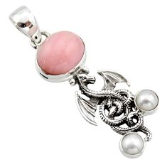 6.62cts natural pink opal pearl 925 sterling silver dragon pendant r17670