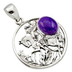 925 silver 5.30cts natural purple charoite (siberian) oval horse pendant r17684