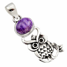 4.06cts natural purple charoite (siberian) oval 925 silver owl pendant r17695