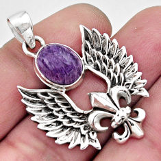 925 silver 5.38cts natural purple charoite (siberian) feather pendant r17704
