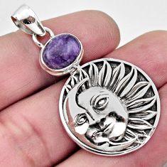 925 silver 4.48cts natural purple charoite crescent moon star pendant r17708