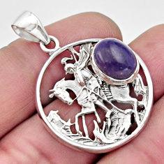 4.70cts natural purple charoite (siberian) 925 silver horse pendant r17710