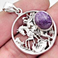5.01cts natural purple charoite (siberian) 925 silver horse pendant r17711