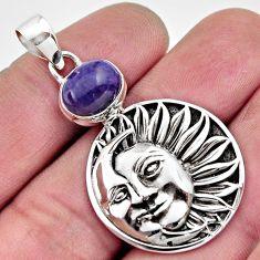 925 silver 4.49cts natural purple charoite crescent moon star pendant r17713