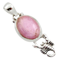925 sterling silver 10.41cts natural pink kunzite oval scorpion pendant r17730