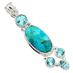 14.12cts blue arizona mohave turquoise topaz 925 sterling silver pendant r17731