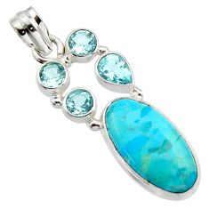 925 sterling silver 12.83cts blue arizona mohave turquoise topaz pendant r17733