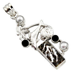9.44cts natural brown dendritic quartz onyx 925 silver dolphin pendant r17742