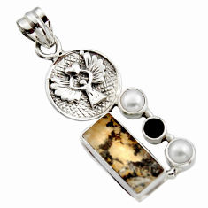 9.44cts natural brown dendritic quartz onyx 925 sterling silver pendant r17751