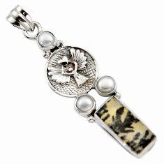925 silver 9.72cts natural brown dendritic quartz pearl eagle pendant r17753