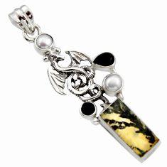 10.74cts natural brown dendritic quartz onyx 925 silver dragon pendant r17755