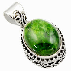 9.39cts natural green chrome diopside 925 sterling silver pendant jewelry r17761