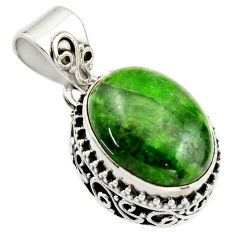 9.72cts natural green chrome diopside 925 sterling silver pendant jewelry r17762