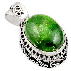 925 sterling silver 9.39cts natural green chrome diopside oval pendant r17763