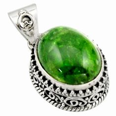 10.54cts natural green chrome diopside 925 sterling silver pendant r17764