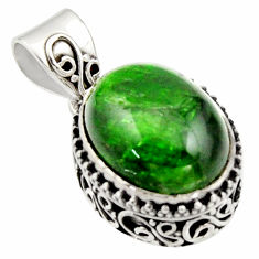 10.00cts natural green chrome diopside 925 sterling silver pendant r17765