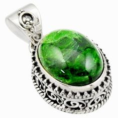 10.54cts natural green chrome diopside oval 925 sterling silver pendant r17766