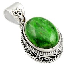 9.72cts natural green chrome diopside 925 sterling silver pendant jewelry r17767