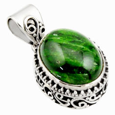10.04cts natural green chrome diopside 925 sterling silver pendant r17769