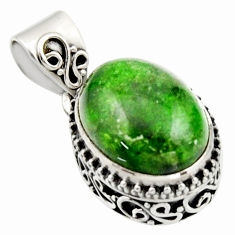9.72cts natural green chrome diopside 925 sterling silver pendant jewelry r17770