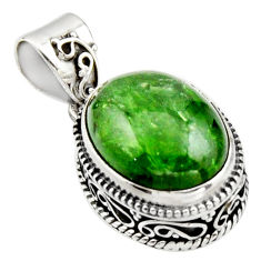 925 silver 10.30cts natural green chrome diopside oval shape pendant r17772
